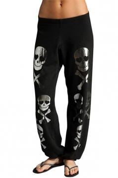 Womens Halloween Skull Printed Loose Leisure Pants Black