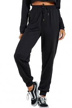 Womens Sports Wear Plain Drawstring Elastic Pants Black