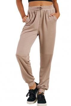 Womens Sports Wear Plain Drawstring Elastic Pants Khaki