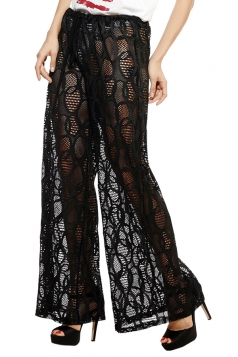 Womens Sexy Lace See Through Beach Wear Wide Leg Pants Black