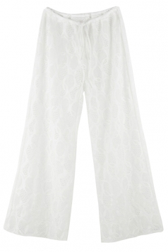 Womens Sexy Lace See Through Beach Wear Wide Leg Pants White