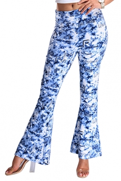 Womens Digital Printed High Waist Flare Bottom Pants Blue