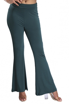 Womens Digital Printed High Waist Flare Bottom Pants Dark Green