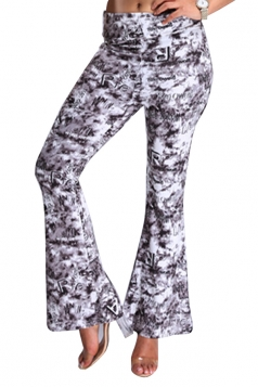 Womens Digital Printed High Waist Flare Bottom Pants Purple