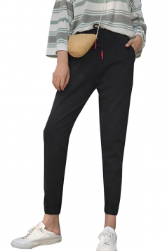 Womens Casual Elastic Draw String Ninth Pants Black