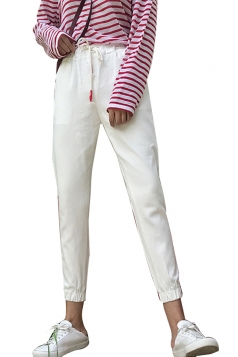 Womens Casual Elastic Draw String Ninth Pants White