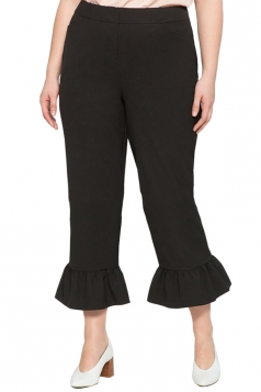 Womens Plus Size Wide Leg Flare Bottom Pants Black