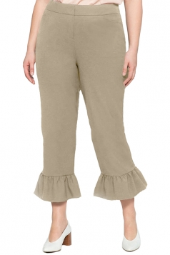 Womens Plus Size Wide Leg Flare Bottom Pants Khaki