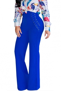 Womens Plain Eyelet Lace Up High Waist Wide Leg Pants Blue