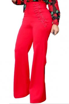 Womens Plain Eyelet Lace Up High Waist Wide Leg Pants Red