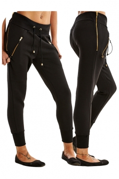 Womens Zipper Tight Drawstring Sports Wear Pants Black