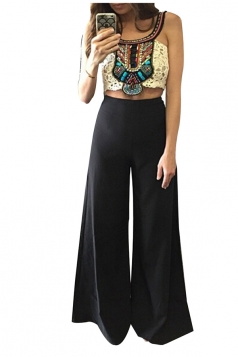 Womens Elegant High Waist Wide Leg Plain Pants Black