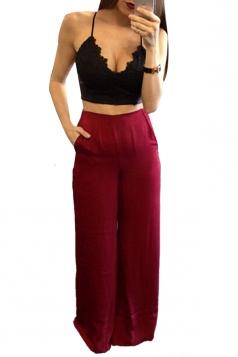 Womens Elegant High Waist Wide Leg Plain Pants Ruby