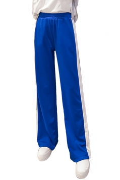 Womens Casual Side Stripe Straight Wide Leg Leisure Pants Blue