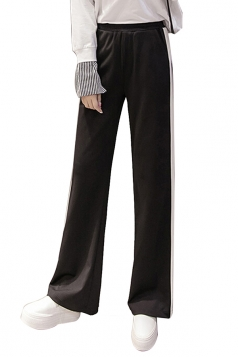 Womens Casual Side Stripe Straight Wide Leg Leisure Pants Black