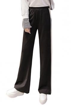Womens Casual Side Stripe Straight Wide Leg Leisure Pants Black