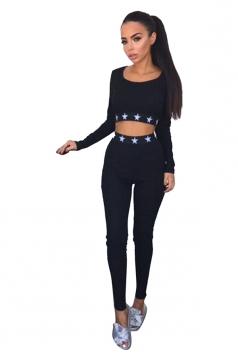 Women Sexy Stars Printed Long Sleeve Crop Top Sweatshirt Suit Black