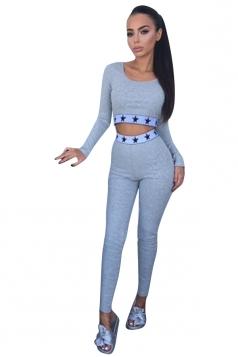 Women Sexy Stars Printed Long Sleeve Crop Top Sweatshirt Suit Gray