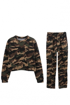 Womens Camouflage Long Sleeve Crop Top Long Pants Sport Suit Green