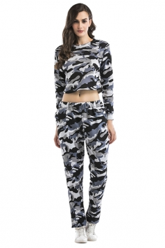 Womens Camouflage Long Sleeve Crop Top Long Pants Sport Suit Gray