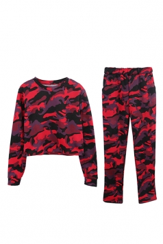 Womens Camouflage Long Sleeve Crop Top Long Pants Sport Suit Ruby