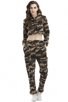 Womens Camouflage Long Sleeve Crop Hoodie Long Pants Sport Suit Green