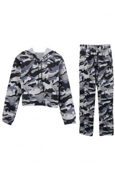 Womens Camouflage Long Sleeve Crop Hoodie Long Pants Sport Suit Gray