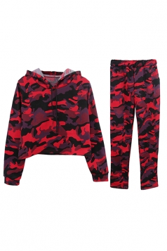 Womens Camouflage Long Sleeve Crop Hoodie Long Pants Sport Suit Ruby