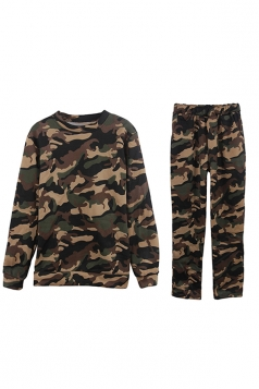 Womens Camouflage Long Sleeve Top Long Pants Sport Suit Green