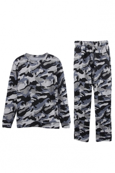 Womens Camouflage Long Sleeve Top Long Pants Sport Suit Gray