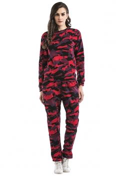 Womens Camouflage Long Sleeve Top Long Pants Sport Suit Ruby