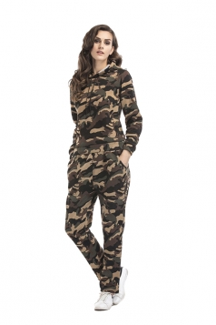 Womens Camouflage Long Sleeve Hoodie Long Pants Sport Suit Green