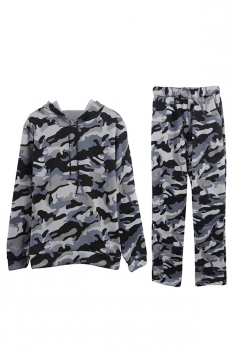 Womens Camouflage Long Sleeve Hoodie Long Pants Sport Suit Gray