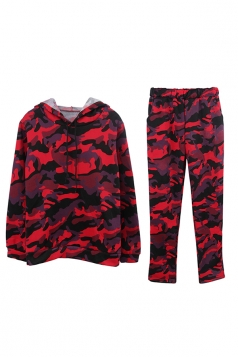 Womens Camouflage Long Sleeve Hoodie Long Pants Sport Suit Ruby