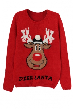Reindeer Printed Long Sleeve Crew Neck Ugly Christmas Sweater Red