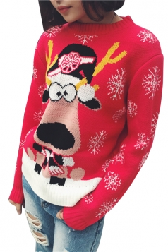 Snowflake&Reindeer Printed Crew Neck Christmas Sweater Red