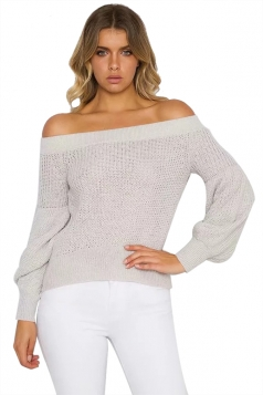 Sexy Off Shoulder Puff Sleeve Plain Sweater Gray