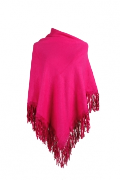 Women Sexy One Shoulder Poncho With Fringe Hem Rose Red