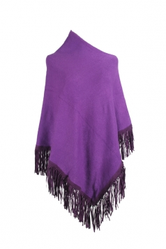 Women Sexy One Shoulder Poncho With Fringe Hem Purple