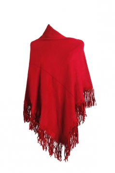 Women Sexy One Shoulder Poncho With Fringe Hem Red