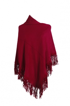 Women Sexy One Shoulder Poncho With Fringe Hem Ruby