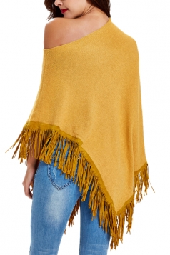 Women Sexy One Shoulder Poncho With Fringe Hem Yellow