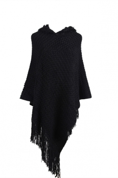 Women Hooded Fringe Hem Plain Poncho Black