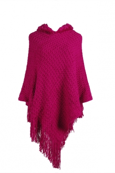 Women Hooded Fringe Hem Plain Poncho Rose Red