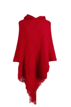 Women Hooded Fringe Hem Plain Poncho Red