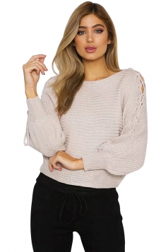 Women Batwing Sleeve Lace Up Hollow Out Crew Neck Sweater Pink