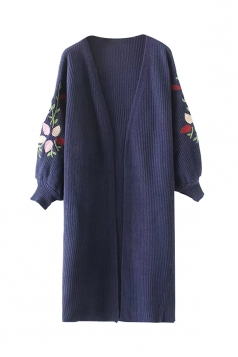 Women Puff Sleeve Flower Embroidered Cardigan Blue