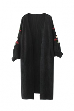 Women Puff Sleeve Flower Embroidered Cardigan Black