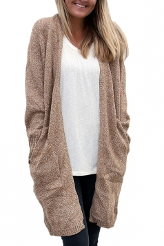 Women Collarless Long Sleeve Pocket Open Cardigan Khaki