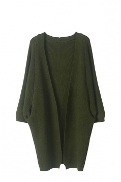Women Knit Slant Pocket Plain Cardigan Army Green
